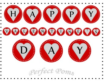 PRINTABLE Valentine's Day Heart Banner: Red and Gray Houndstooth - Digital Download PDF - Party Decoration - Red Banner - Bunting