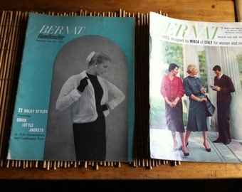 two vintage Bernat booklets Bulky Knits designed by Mirsa of Italy for women and men and also 21 Bulky styles