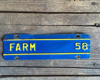 Vintage Metal Sign Farm Tag Blue & Yellow
