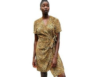 Leopard print wrap front silk dress 1990s 90s VINTAGE