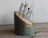 Vintage Handmade Pin Cushion // Made out of Wood Slice // Mother's Day