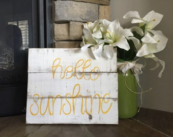 Pallet sign, hello sunshine, reclaimed wood sign, white washed sign
