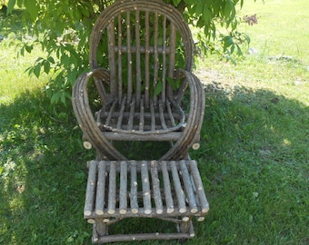 Rustic Cedar Twig Chair Includes Free Footstool Maine Handmade Shipped only in New England