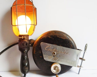 Vintage Task lamp Cordomatic 700 retractable cord Industrial lamp safety cage light w/ bracket