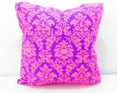 Bohemian pillow, bohemian decor, purple and pink pillow cover, 16x16 inches, teen girls room decor