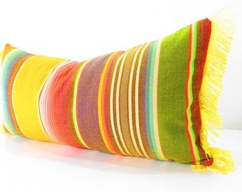 Yellow Long bolster pillow cover, Cinco de Mayo, Tribal Aztec Mexican Throw Boho chic Lumbar Cushion, Gift for mom, 14x28 cushion,