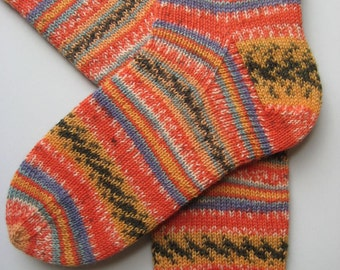 hand knitted womens wool socks, UK 6-8 US 8-10, ladies socks, multicolored socks, knitted socks, gift for women, orange socks, fairisle