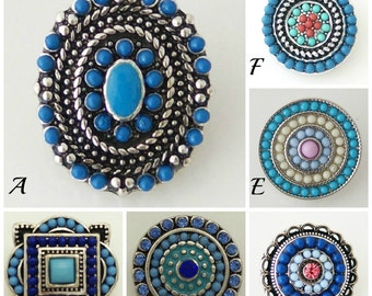 Blue snap charms that fit Ginger Snaps Jewelry and Noosa Jewelry plus many other 18-20 mm snap jewelry. Each 20 mm blue snap is 3.98