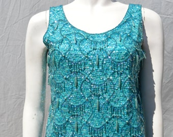 Vintage 60's all sequin beaded chinese top sleeveless blouse HONG KONG top size M by thekaliman