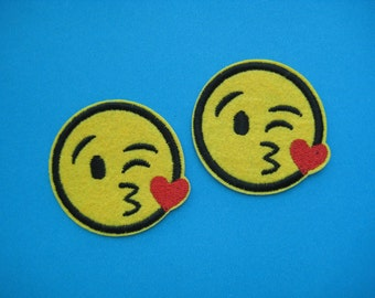 SALE~ 2 pcs Iron-on Embroidered Patch Emoji Face Throwing a Kiss 2 inch