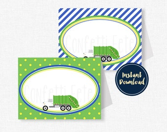 Garbage Truck Food Labels, Buffet Cards, Garbage Truck Place Cards, Garbage Party Decorations, Printable Food Labels INSTANT DOWNLOAD