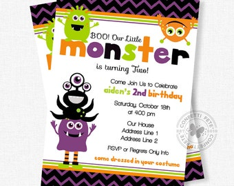 Halloween Birthday Invitation, Little Monster Invitation, Monster Birthday Invitation, Little Monsters First Birthday, Monster Party