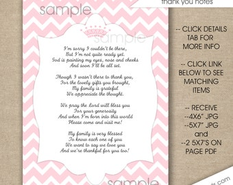 Pink Princess Crown Baby Shower Thank You Poem Notes / INSTANT Download /  Girl Baby Shower