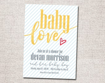 Baby Shower Invitation, Printable Baby Shower Invitation, Modern Baby Shower Invitation, Boy, Girl (Baby Love)