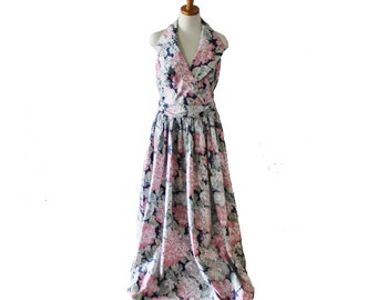 Vintage 80s Floral Hydrangea Halter Prom Dress // Women L XL // formal, full length Alfred Angelo