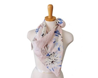 50% half off sale // Vintage 80s Pale Pink Floral Scarf - White Blue Flowers - Designer Silk Fashion