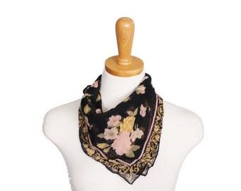 50% half off sale // Vintage Black Sheer Floral Scarf - 80s - Pink Yellow Rose Pattern