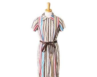 30% off sale // Vintage 60s STATIC Zig Zag Day Dress - Women S - belted, vertical chevron, mod
