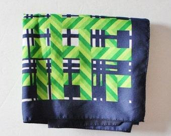 50% half off sale // Vintage 70s Blue Green White Geometric Fashion Scarf - nautical, summer scarf