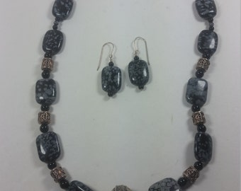 Snowflake Obsidian, Onyx and Bali silver jewelry set