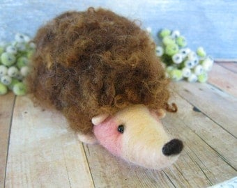 Needle felted hedgehog childrens toy or collectors item fiber art sculpture