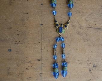 Antique 1920s flapper glass bead enamel tassel necklace