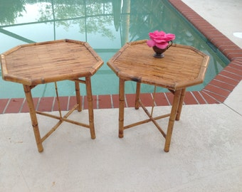 OCTAGON BAMBOO SIDE Tables / Pair of Vintage Bamboo Folding End Tables / Tortoise style Tables / Folding Tables Retro Daisy Girl