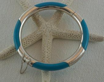 Vintage Aqua Blue Lucite Sterling Silver Encased Stamped Designs Safety Chain Clasp Bangle Bracelet  .....5164