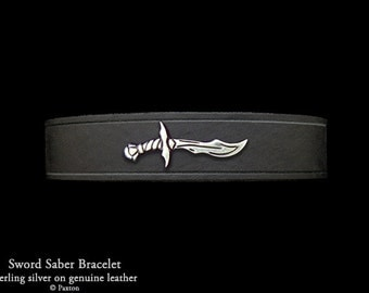Sword Leather Bracelet Sterling Silver Saber on Leather Bracelet