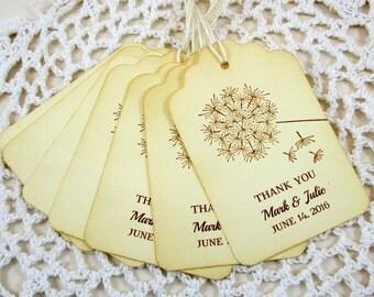 Set of 50 Dandelion Personalized Wedding Favor Tags, Custom  Wedding Thank You Tags, Custom Dandelion Wedding Favor Tags