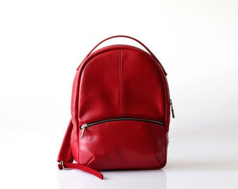 Red Leather Backpack OPELLE Baby Kanye Back Pack purse in Crimson