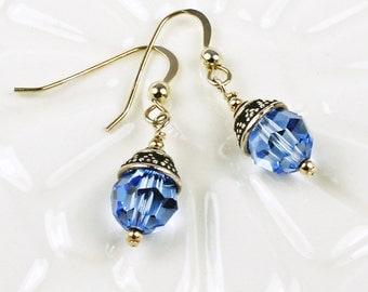 Blue Earrings - Sapphire Earrings - Blue Crystal Earrings - Crystal Earrings
