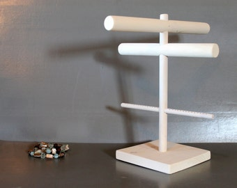 Jewelry Organizer, White Washed Necklace Hanger with Bracelet Bar and Earring Holder, Craft Show Display, Retail Jewelry Stand, Jewelry Rack