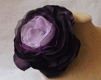 Ombre Flower Brooch in Shades of Purple and Plum