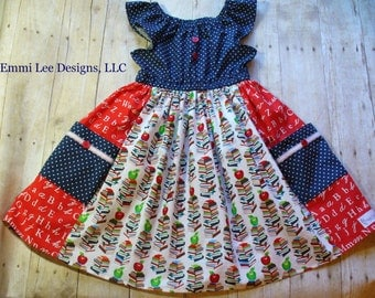Size 6 Ready to Ship Back to School Dress,Girls Clothing,Girls Size 6T, Back to School,Navy, Books, Apples, Red, Little Girl Dress