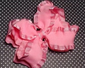 SUMMER SUPER SALE Coral Pink Double Ruffle Double Layer Bow 5 Inch
