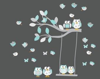 Vinyl Wall Sticker Decal Custom Name Decal Pattern Letters Butterflies Owls boy nursery decal