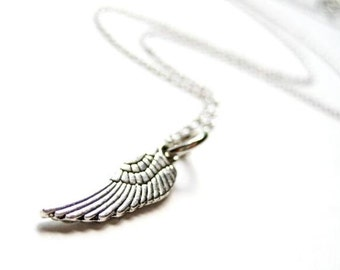 Small Silver Angel Wing Necklace