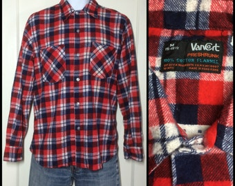 Vintage 1970's soft Plaid Flannel Shirt size Medium Red White and Blue all cotton