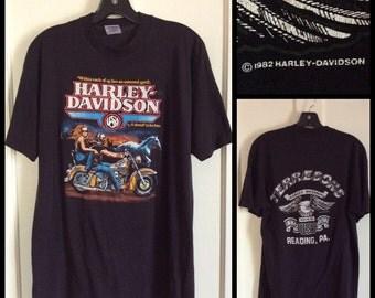 1982 Biker Babe Dude Harley Davidson Motorcycle T-shirt size L Terresons Reading, PA