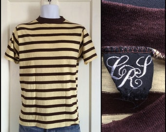 1960s Striped t-shirt size Large Yellow Brown Ringer Surfer Mod Beach Bum