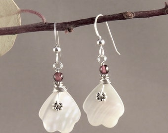 Mother-of-pearl Earrings. Antique carved stone earrings Garnet Earrings Sterling Silver Dangles. Gift Jewelry Garnet Earrings White stone Ea