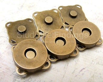 20sets 10 mm SEW ON Magnetic Snap Closure / Antique Brass