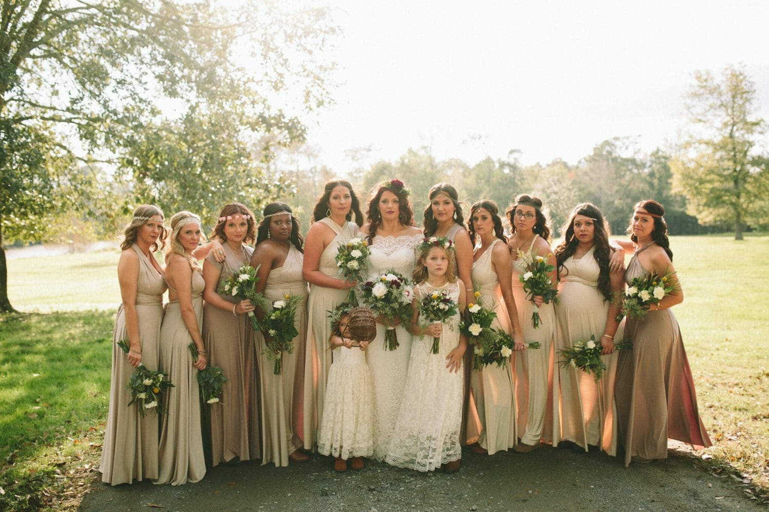 Real Bridesmaids In Beige Bridesmaid Dresses: The Mismatched Bridesmaids Octopus Infinity Convertible Wrap