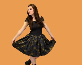 80s PARTY DRESS black & gold floral punk hipster dropped waist sleeveless 1980s cocktail dress Medium indie IngridIceland