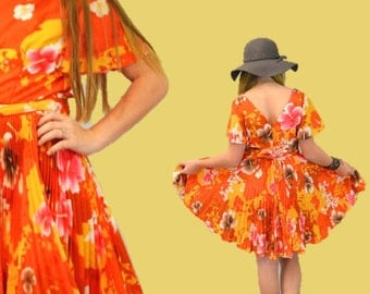 Hawaiian party dress summer hipster indie hula flame orange tropical island rocker grunge wear vacation resort  1950s IngridIceland