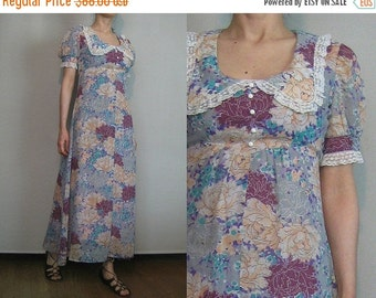 SUMMER SALE 70s DOLLY Empire Waist vtg Puff Puffed Sleeve Lace Trim Maxi Turquoise Violet Orange Pink Pewter Cotton Floral Dress xs Small s/