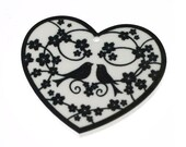 B140 Printed Floral Heart and Love Birds Black Acrylic Charm Pendant **STOCK CLEARANCE**