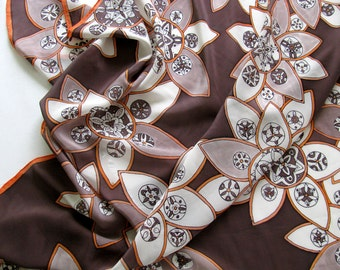 Hand painted crepe de chine silk scarf - Orange blossoms in chocolate