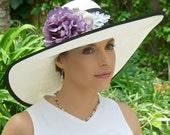 Black and White Wide Brim Hat, Wedding Hat, Kentucky Derby Hat, Formal Church Hat, Garden Party Hat, Tea Party Hat, Dressy Hat, Event Hat